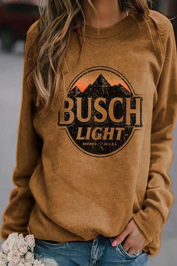 Busch Light Mountain Letter Print Casual Sweatshirt
