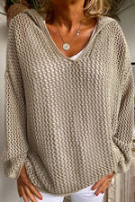 Knitted Solid Hollow Out Paneled Hooded Casual Sweater