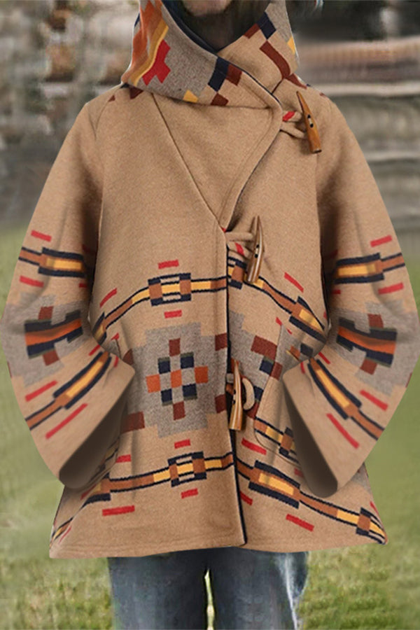 Geometric Outerwear Jacquard Vintage Horn Buckles Pockets Hooded Coat
