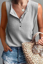 Shift Solid Sleeveless Casual Buttoned Blouses
