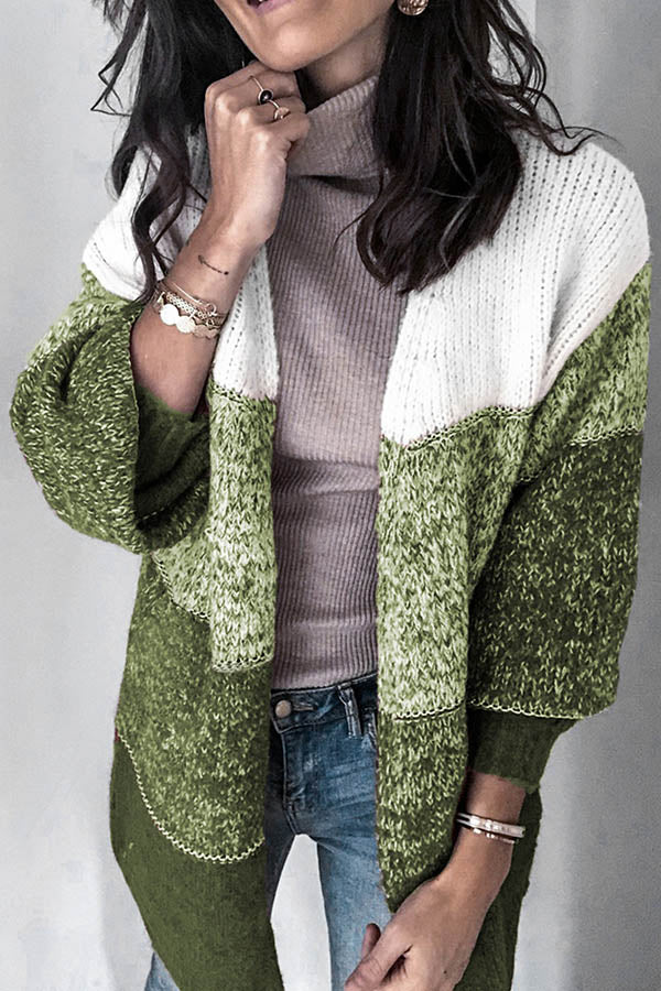 Gradient Jacquard Knitted Color-block Hollow Out Holiday Cardigan