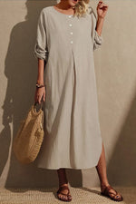 Solid Buttoned Pleated Slit Hem Vintage Simple Maxi Dress