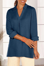 Solid V-neck Slit Side Blouses