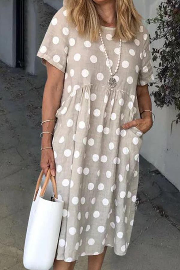 Casual Polka Dots Pockets Crew Neck Midi Dress