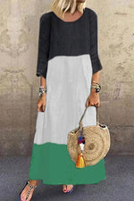 Color Block 3/4 Length Sleeves Maxi Dress