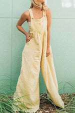 Vintage Solid Buttoned Sleeveless Paneled Wide Leg Jumpsuit