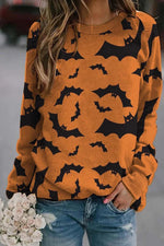 Happy Halloween Bat Print Paneled Crew Neck Sweatshirt