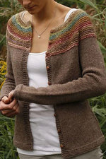 Vintage Mixed Colors Striped Ribbed Knitted Cardigan