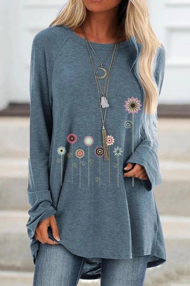 Casual Floral Print Long Sleeve T-shirts