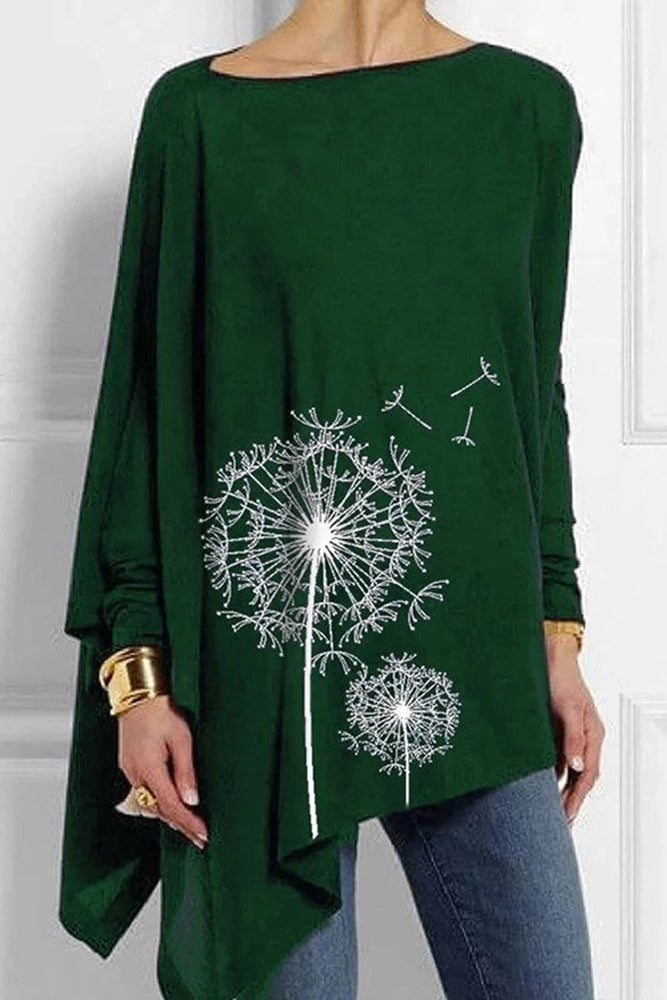Dandelion Print Asymmetric Long Sleeves T-shirt