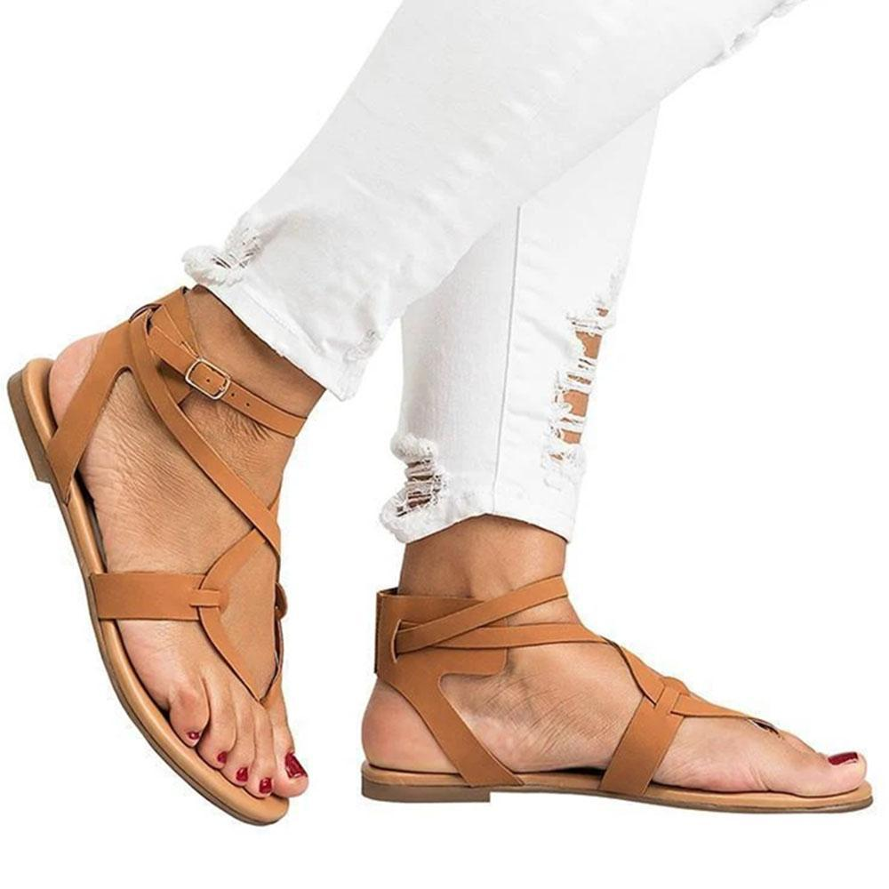 Solid Pinch Cutout Belt Buckle Flat Heel Sandals