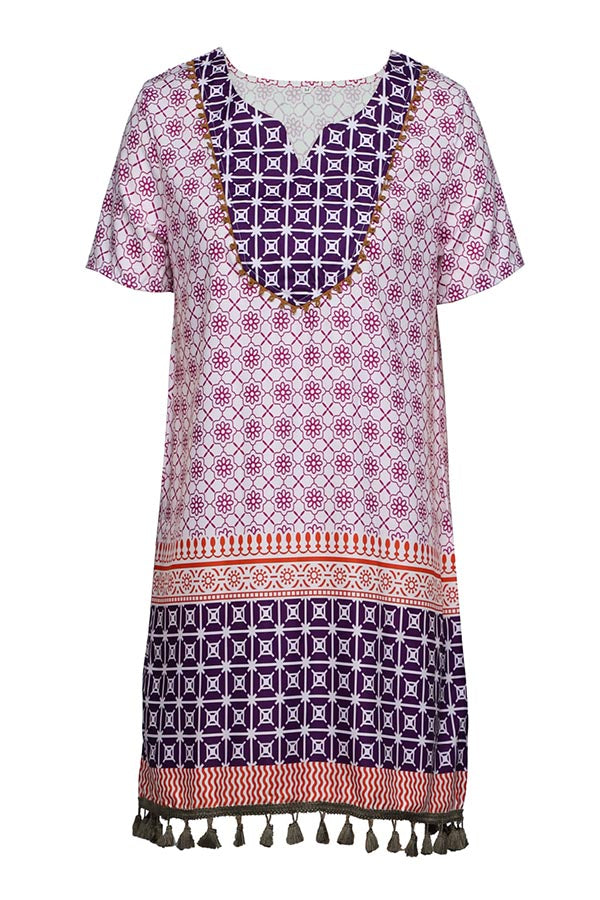 Vintage Geometric Print V-neck Tassel Holiday Mini Dress