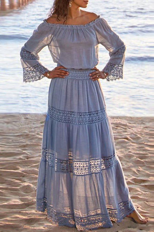 Bohemian Off Shoulder Paneled Lace Hollow Out Holiday Maxi Dress