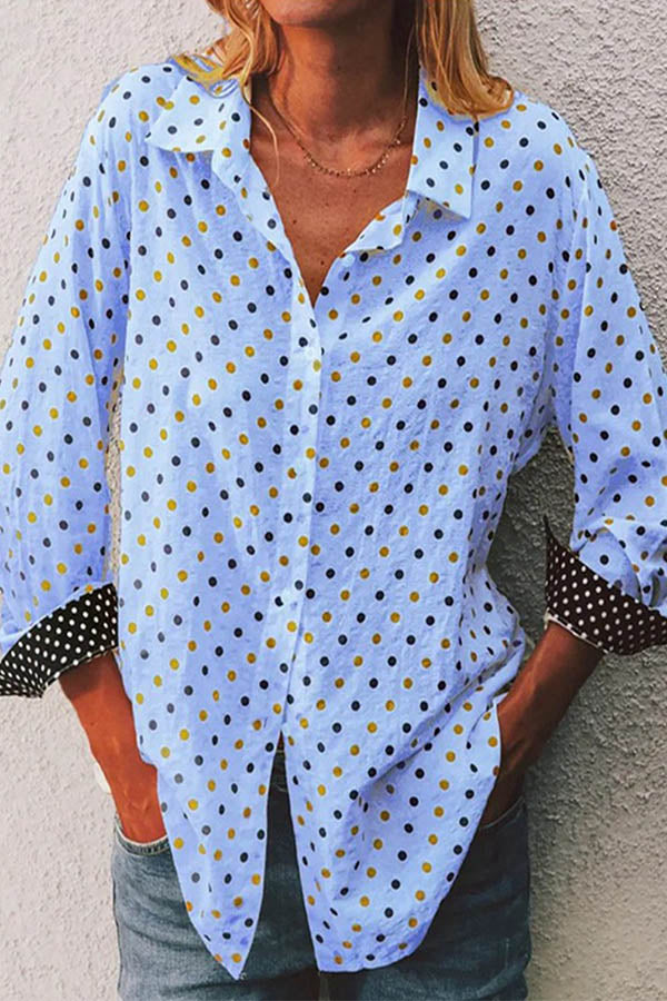 Casual Polka Dots Print Paneled Buttons Down Blouse