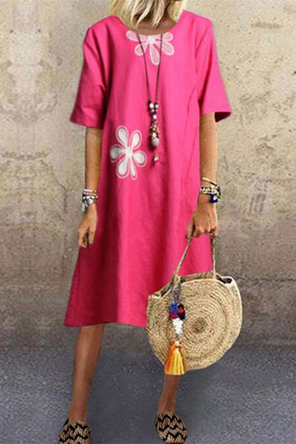 Casual Floral Print Half Sleeves Crew Neck Midi Dress