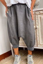 Solid Buttoned Pockets Casual Paneled Harem Pants