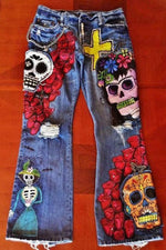 Halloween Skull Embroidery Vintage Paneled Pockets Jeans
