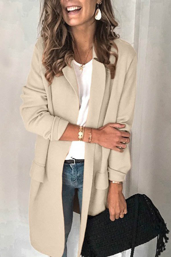 Solid Paneled Side Pockets Lapel Collar Casual Suit Coat