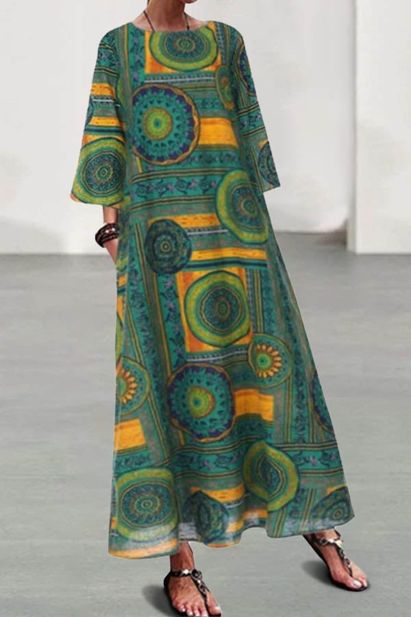 Bohemian Abstract Geometric Print 3/4 Sleeves Maxi Dress