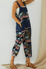 Vintage Geometric Print Sling Sleeveless Color-block Paneled Jumpsuit