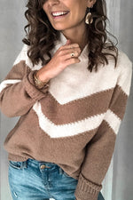 Color-block Casual Knitted Turtleneck Paneled Ribbed Sweater