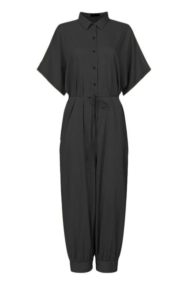 Solid Paneled Buttoned Foot-binding Casual Harem Jumpsuit