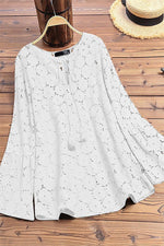 V-neck Drawstring Lace Hollow Out Paneled Casual Blouse