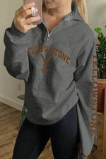 Yellowstone Letter Print Zipper Front Lapel Collar Sweatshirt