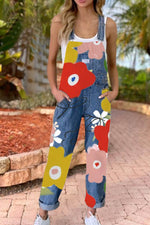 Holiday Floral Print Paneled Buckle Pockets Denim Jumpsuit