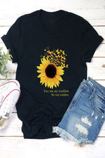 Crew Neck Sunflower Print Short Sleeves Casual T-shirt