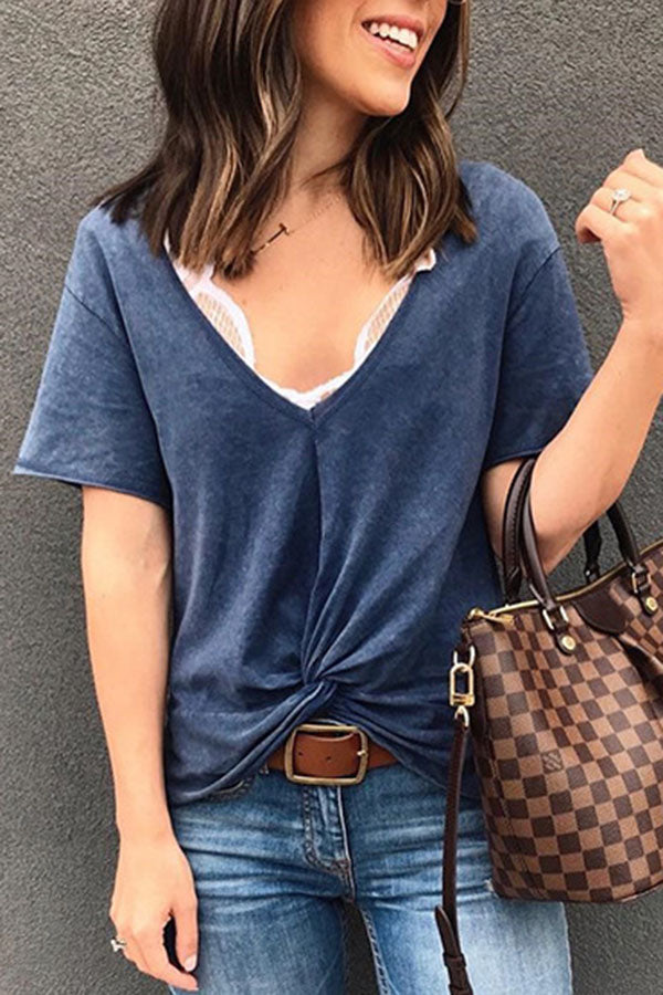 Paneled Plunging Neck Knot Front Casual Solid T-shirt