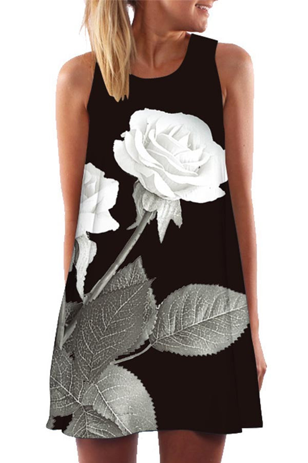 Floral Print Sleeveless Casual Mini Dress