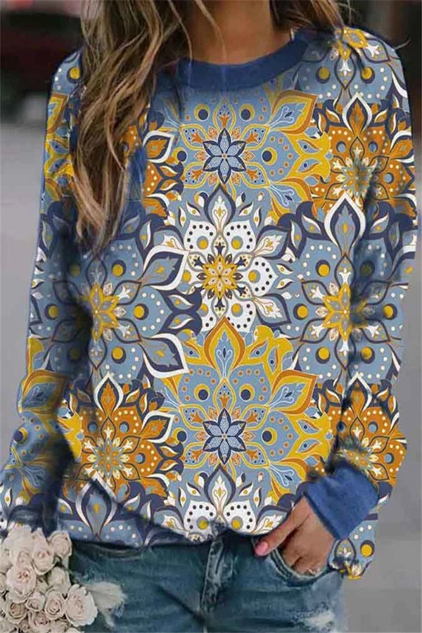 Artistic Holiday Floral Print Paneled Crew Neck Sweatshirt