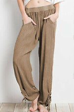 Loose Solid Side Pockets Casual Long Pants