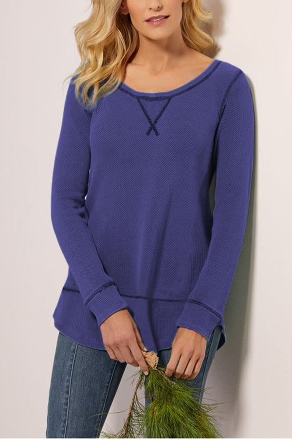 Casual Round Neck Solid Irregular T-shirts