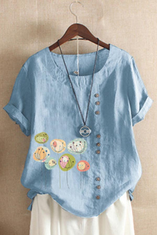 Graphic Print Paneled Buttons Down Casual Blouse