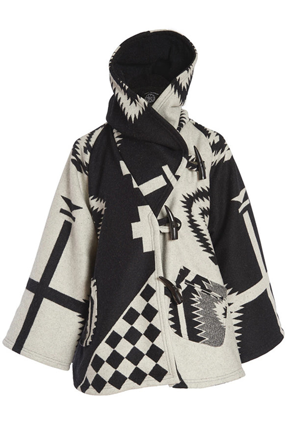 Holiday Outerwear Geometric Jacquard Horn Buckles Paneled Pockets Hooded Coat
