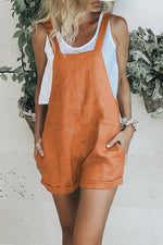 Solid Casual Side Pockets Sling Rompers