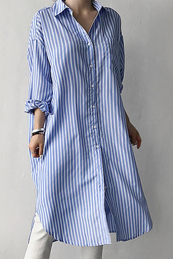 Casual Stripe Buttoned Pocket Shift Midi Dress