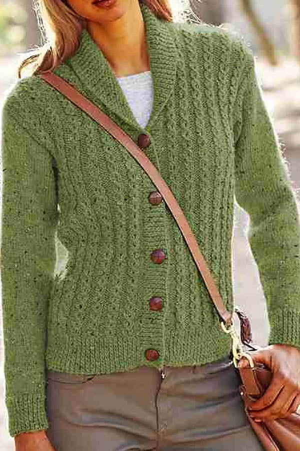 Tweed Ribbed Knitted Solid Buttons Down Lapel Collar Vintage Cardigan