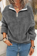 Simple Style Solid Fuzzy Zipper Front Lapel Collar Sweatshirt
