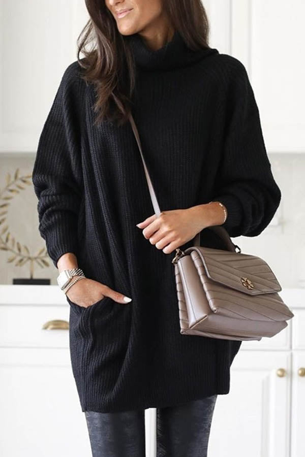 Turtleneck Solid Knitted Ribbed Pockets Casual Sweater Dress
