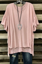 Casual Solid Paneled High Low V-neck Bell Sleeve T-shirt