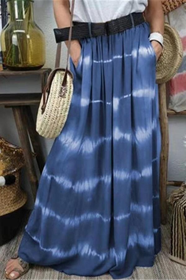 Casual Striped Side Pockets Loose Maxi Skirts