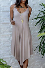 Spaghetti Tie V-neck Holiday Solid Irregular Wide Leg Jumpsuit