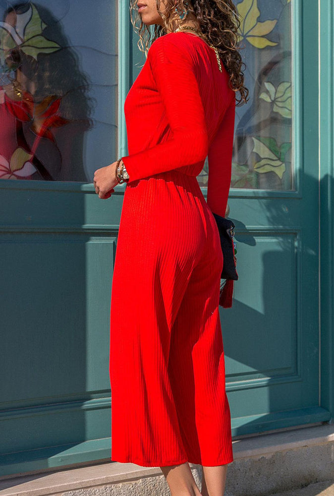 V Neck Buttoned Wide Leg Solid Jumpsuits