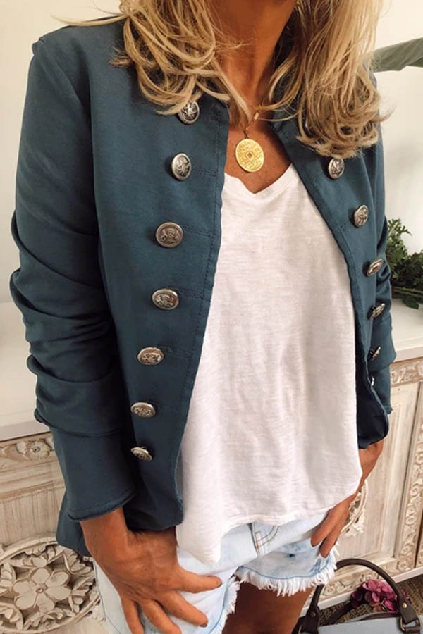 Casual Solid Diagonal Buttoned Paneled Coat