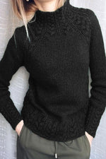 Vintage Solid Paneled Ribbed Knitted Stand Collar Sweater