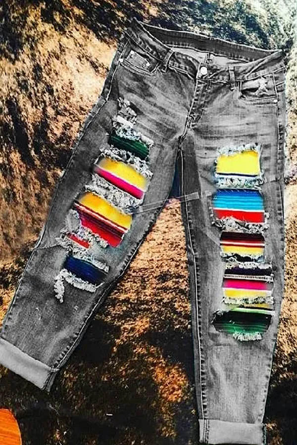 Cutout Colorful Striped Print Paneled Vintage Pockets Jeans