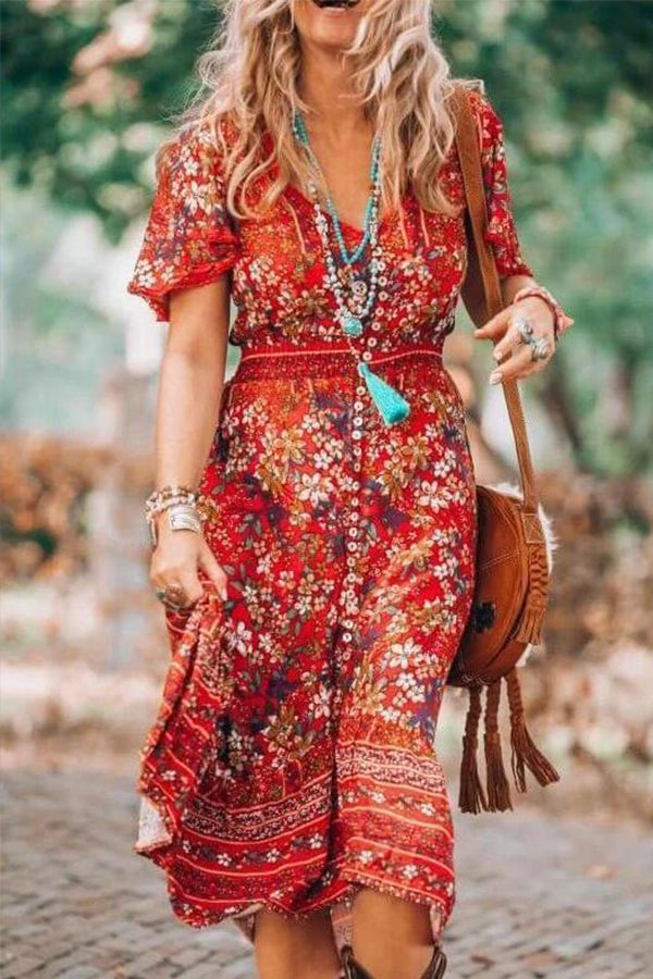 Floral Print Buttons Down V-neck Bohemian Holiday Midi Dress